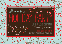 Holiday Party Invitations - red berry holiday party