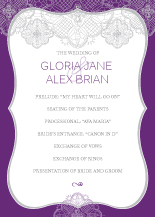 Wedding Program - lace applique