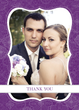 Wedding Thank You Card with photo - lace applique