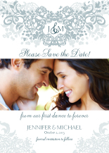 Save the Date Card with photo - joyful symphony