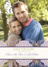 Save the Date Card with photo - lacy bouquets