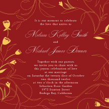 Wedding Invitations - tulip swirls border