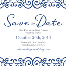 Save the Date Card - romantic scrolls