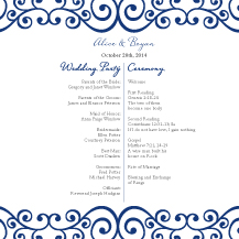 Wedding Program - romantic scrolls