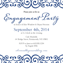 Engagement Party Invitation - romantic scrolls