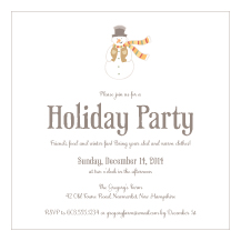 Holiday Party Invitations - little snowman
