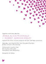 Wedding Invitations - raining hearts