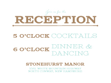 Reception Card - one and only