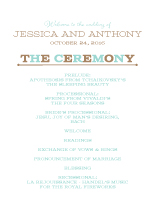 Wedding Program - one and only