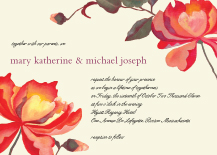 Wedding Invitations - painted peonies