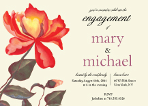 Engagement Party Invitation - painted peonies