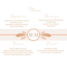 Menu - sumac leaf monogram
