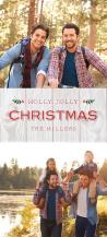Christmas Cards - holly jolly woodgrain