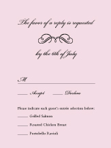 Response Card with menu options - forever & ever
