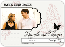 Save the Date Card with photo - boho butterfly