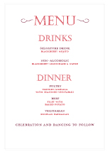 Menu - simple but bold