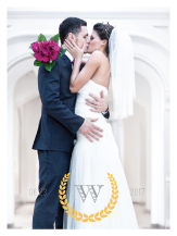 Wedding Thank You Card with photo - modern laurel