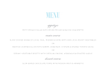 Menu - mix and mingle