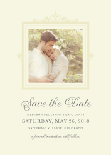 Save the Date Card with photo - brocade border