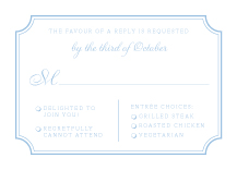 Response Card with menu options - classic cornice