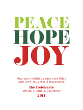 Holiday Cards - peace hope joy