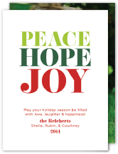 Holiday Cards - peace hope joy