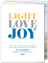 Hanukkah Cards - light, love, joy