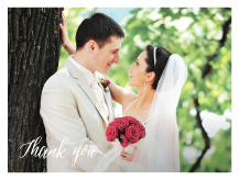 Wedding Thank You Card with photo - elegant garden