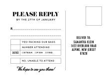Response Card with menu options - fly with me