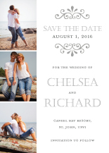 Save the Date Card with photo - garden swirl