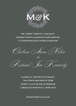 Wedding Invitations - floral wreath monogram