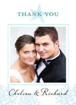 Wedding Thank You Card with photo - nautical starfish