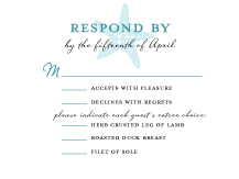 Response Card with menu options - nautical starfish
