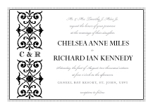 Wedding Invitations - scrolls monogram