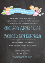 Wedding Invitations - enchanted flowers on chalkboard