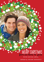 Christmas Cards - christmas wreath photo circle