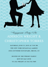 Engagement Party Invitation - proposing silhouettes