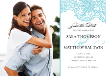 Save the Date Card with photo - lace