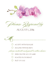 Response Card with menu options - artistic orchid