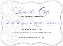 Save the Date Card - damask monogram