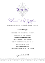 Wedding Program - damask monogram