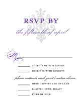 Response Card with menu options - damask monogram