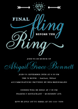 Bachelorette Party Invitation - final fling before the ring