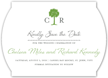 Save the Date Card - palm tree monogram