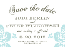 Save the Date Card - wedding damask
