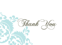 Wedding Thank You Card - wedding damask