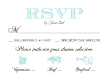 Response Card with menu options - wedding damask