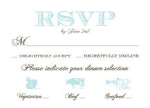 Response Card with menu options - wedding damask