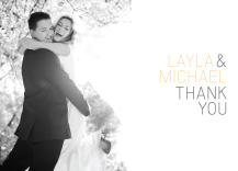Wedding Thank You Card with photo - fresh typography