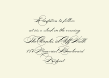 Reception Card - classic calligraphy